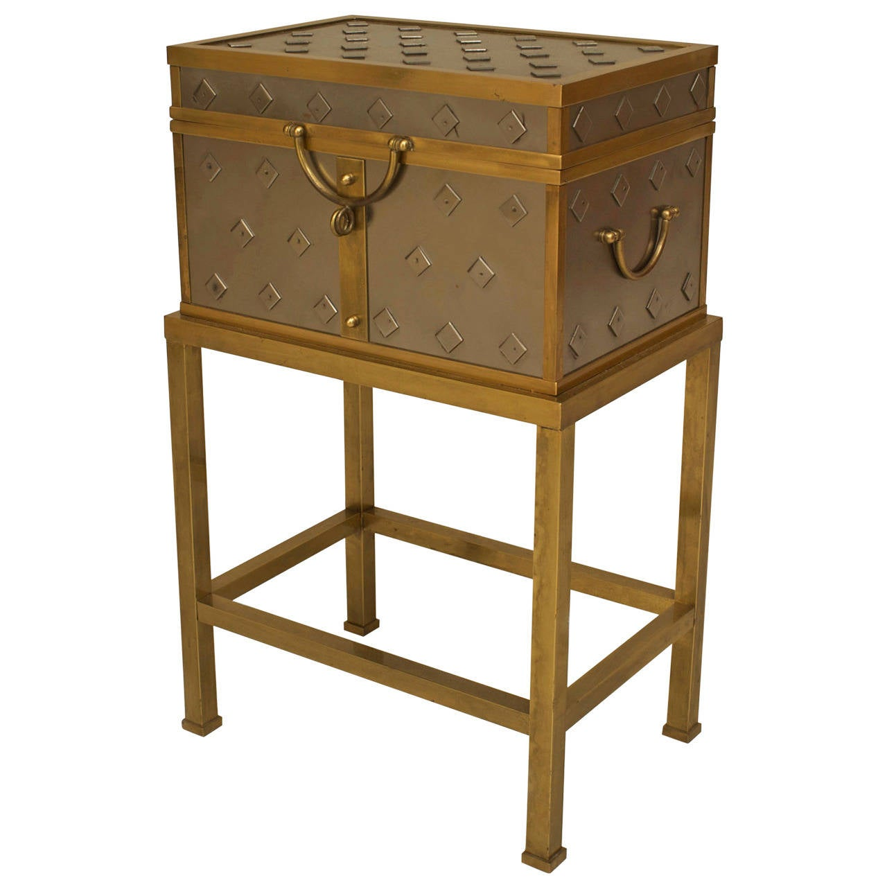 1940s Italian Silvered and Brass-Trimmed Box and Stand