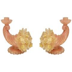 Pair of Italian Murano Pink and Gold Cornucopia Candlesticks