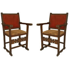 Pair of 16th Century Spanish Colonial Walnut Armchairs