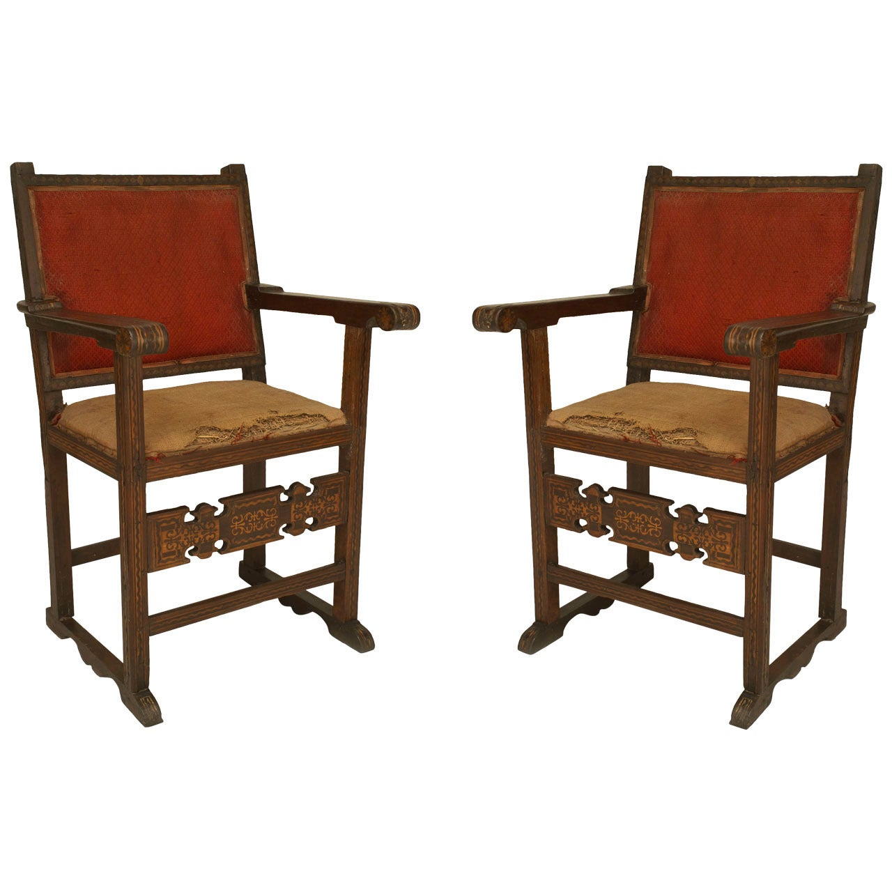Pair of Spanish Colonial Walnut Armchairs