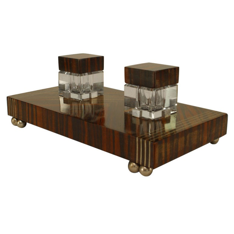 French Art Deco Palisander, Crystal, And Pewter Inkwell