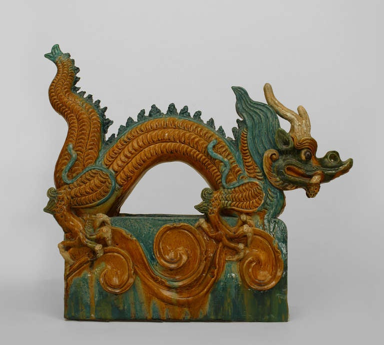 Pair Of Chinese Ming Dynasty Dragon Roof Tiles At 1stdibs
