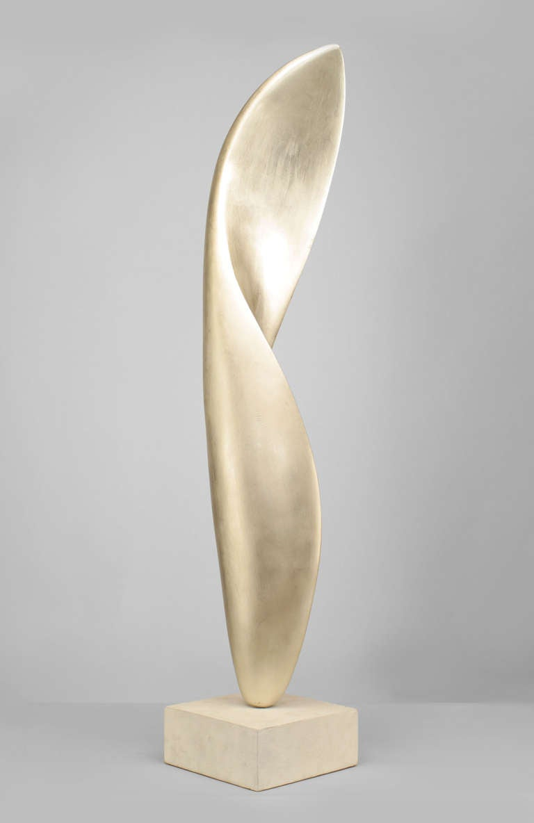 Contemporary Abstract Silver Leaf And Resin Sculpture By