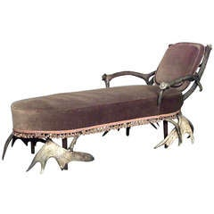 19th c. Continental Horn And Antler Upholstered Chaise