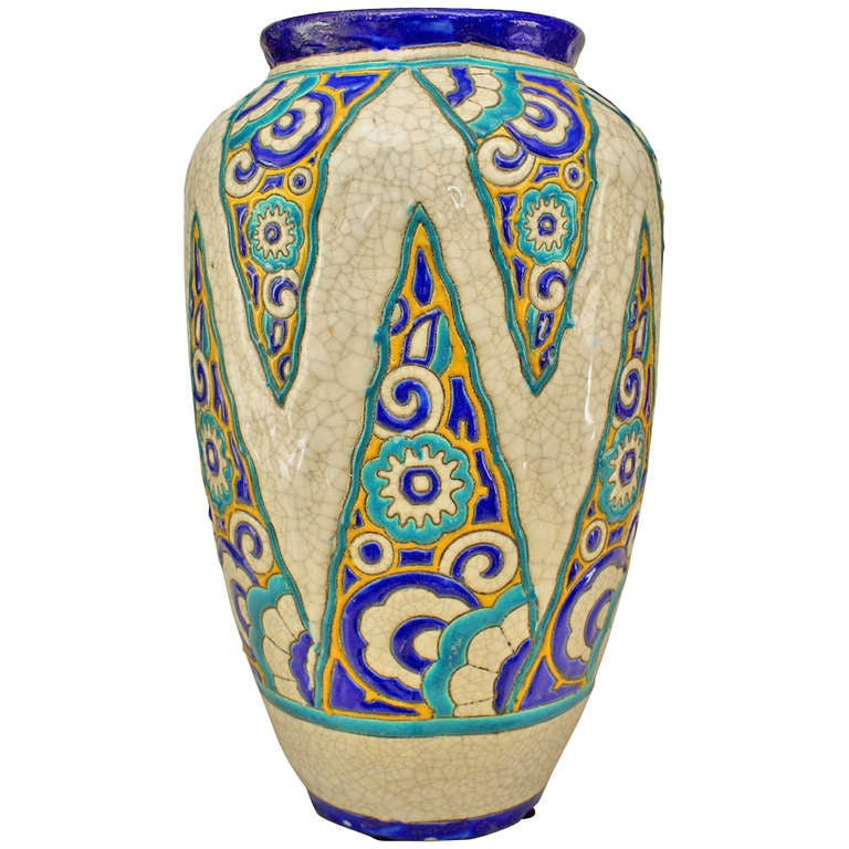 belgian art deco floral motif vase for sale at 1stdibs. Black Bedroom Furniture Sets. Home Design Ideas