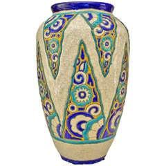 Belgian Art Deco Floral Motif Vase