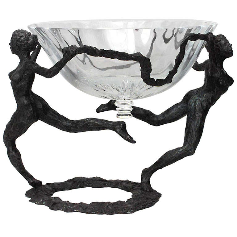 French Post-War Figural Bronze And Glass Centerpiece For Sale
