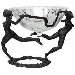French Post-War Figural Bronze And Glass Centerpiece