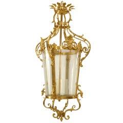 French Louis XVI Style Gilt Bronze Hanging Lantern