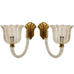 Pair of 1930's Murano and Brass Tulip Wall Sconces