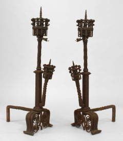 Pair Of Samuel Yellin Renaissance Revival Wrought Iron Andirons