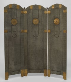 Austrian Secessionist Tole And Brass Fire Screen