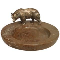 Bronze and Marble Bear Ashtray