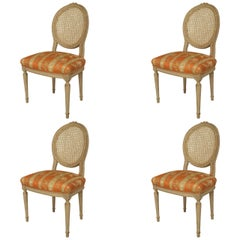 Set of Four 20th Century French Louis XVI, Cream Painted Side Chairs
