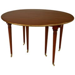 19th Century French Louis XVI Style Expanding Mahogany Dining Table