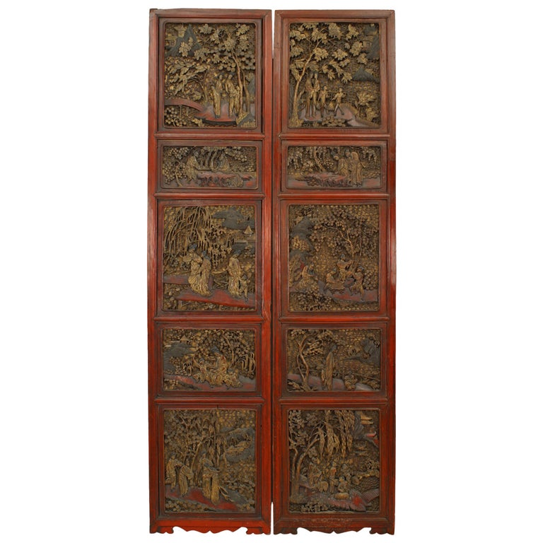 Large Pair of Chinese Carved and Lacquer Frame Doors For Sale
