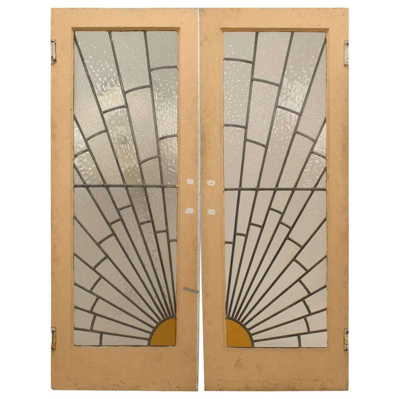 Pair of French Art Deco Leaded Glass Sunburst Doors 1  sc 1 st  1stDibs : deco door - pezcame.com