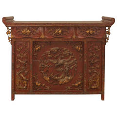 Extraordinary Chinese Gilt Trimmed Red Lacquer Console or Altar Table