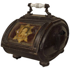 19th Century English Coal Scuttle with Canine Decorations
