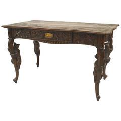 19th Century Black Forest Bear Carved Walnut Desk