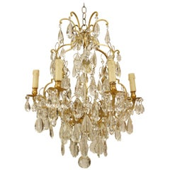 Turn of the Century French Louis XV Style Bronze and Crystal Chandelier