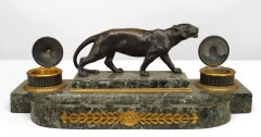 19th c. French Bronze And Marble Panther Inkwell