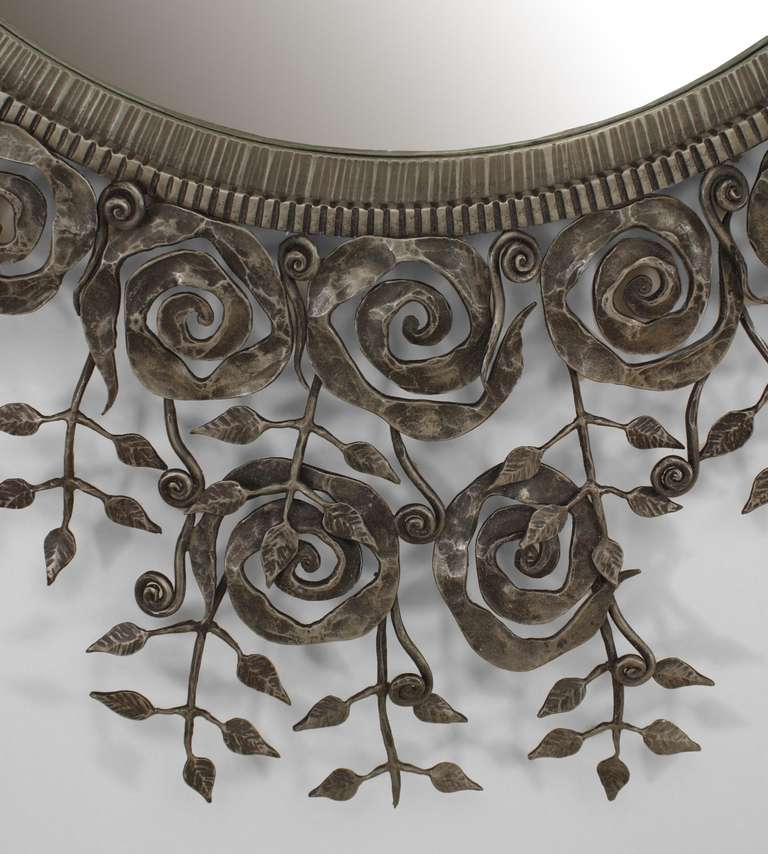 French art deco style wrought iron floral wall mirror at for Wrought iron mirror