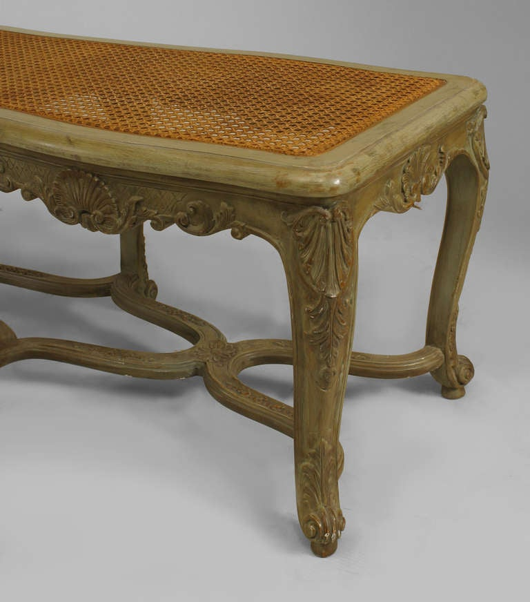 Green painted and carved french regence style bench for