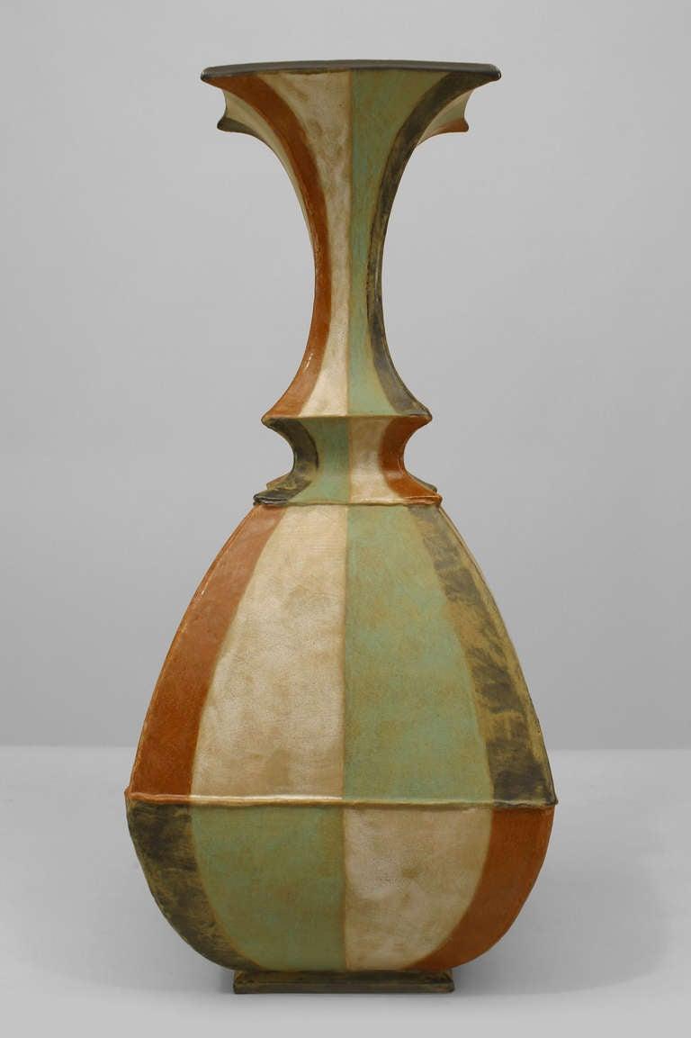 contemporary flared neck roman stripe ceramic vase by gary  - contemporary flared neck roman stripe ceramic vase by gary dipasquale