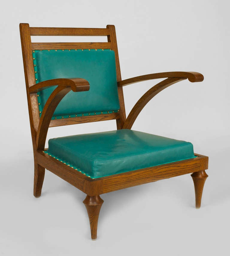 Pair Of Oak And Turquoise Leather Slipper Chairs For Sale