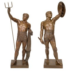 Pair of 19th c. French Bronze Gladiator Sculptures, by Émile Guillemin