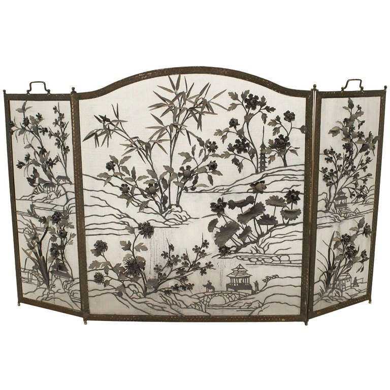 Arts And Crafts Wrought Iron Fire Screen With Floral And Asian Designs At 1stdibs