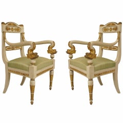 Pair of Early 19th c. Gilt Carved Italian Neoclassic Chairs