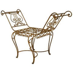 French Art Moderne Gilt Wrought Iron Bench