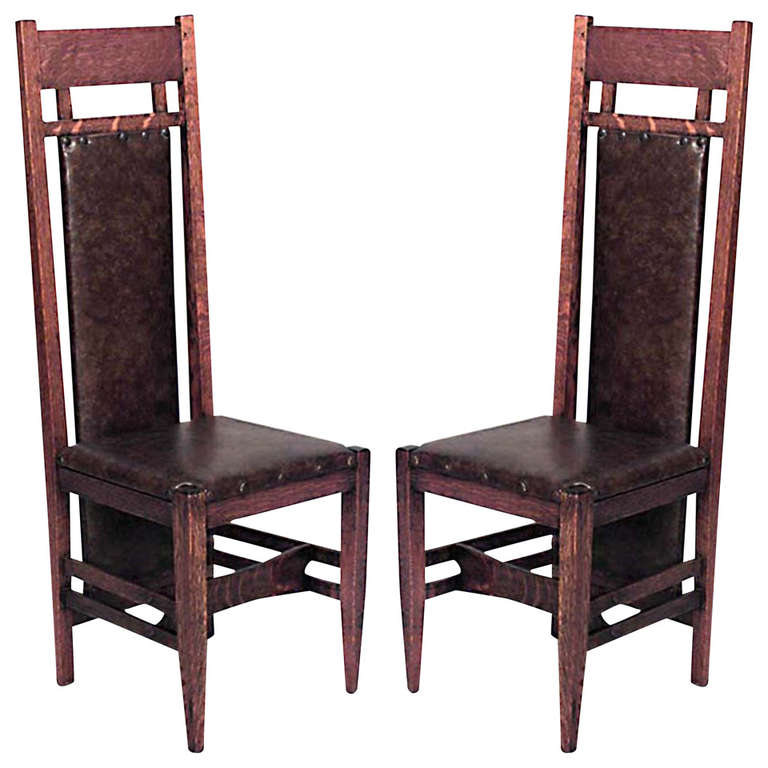 Pair Of American Mission Oak And Leather Side Chairs For Sale