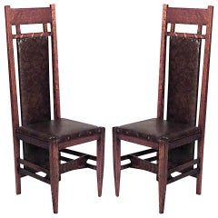 Pair of American Mission Oak and Leather Side Chairs