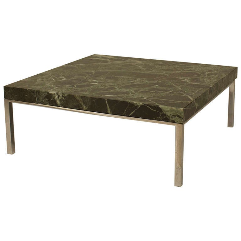 1960's American Low Marble and Chrome Coffee Table