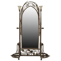 French Art Deco Wrought Iron Cheval Mirror Attributed to Paul Kiss, circa 1920's