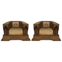 Early 20th Century Pair of Oversized Inlaid Syrian Club Chairs