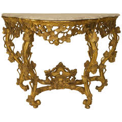 18th Century French Louis XV Marble Top Gilt Carved Console