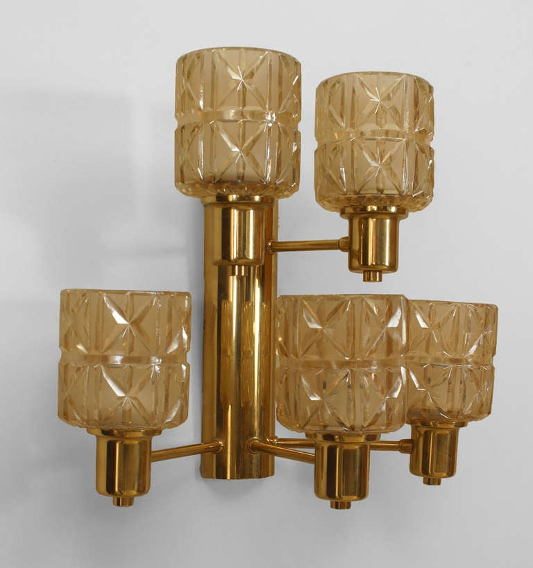 Pair Of Swedish Two-Tier Cut Glass And Brass Sconces By Jakobsen For Sale at 1stdibs