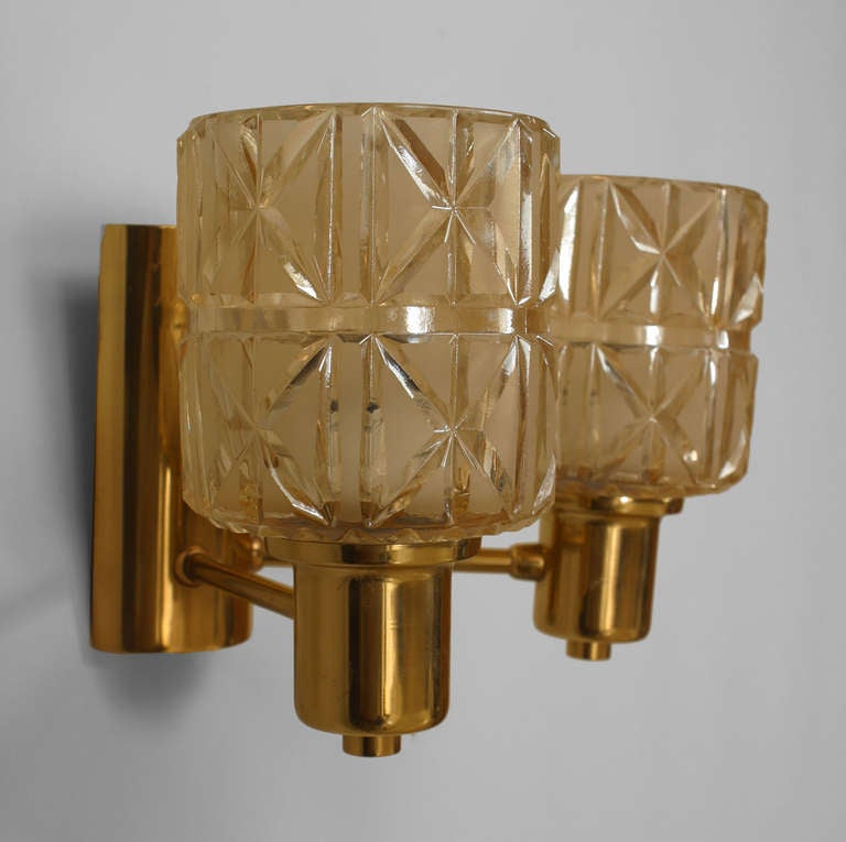 Cut Glass Wall Lights : 3 Swedish Cut Glass And Brass Sconces By Jakobsen For Sale at 1stdibs