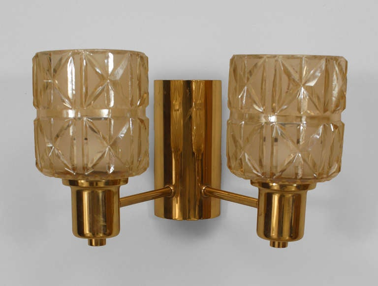3 Swedish Cut Glass And Brass Sconces By Jakobsen For Sale at 1stdibs