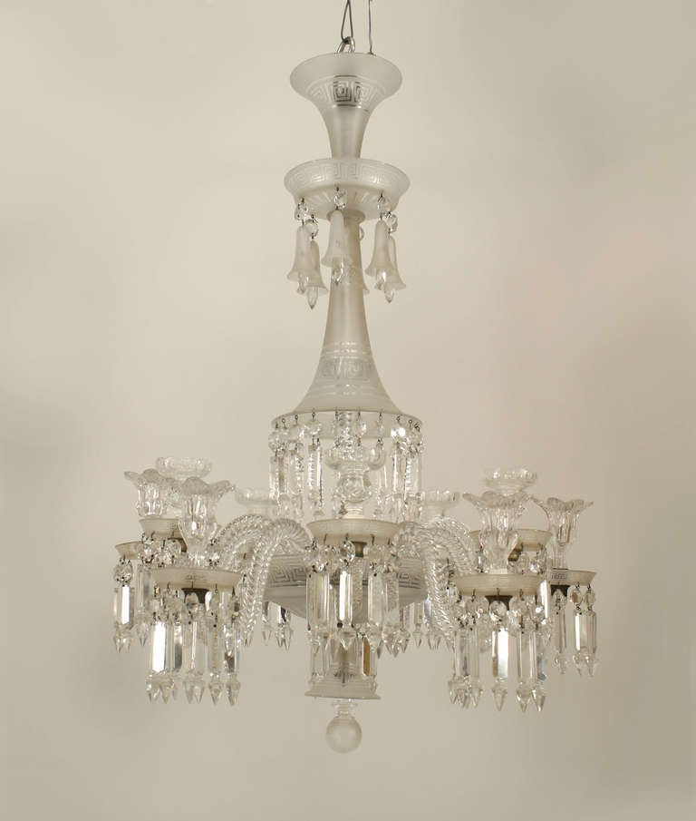 19th C Baccarat 10 Arm Crystal Drop Chandelier For Sale