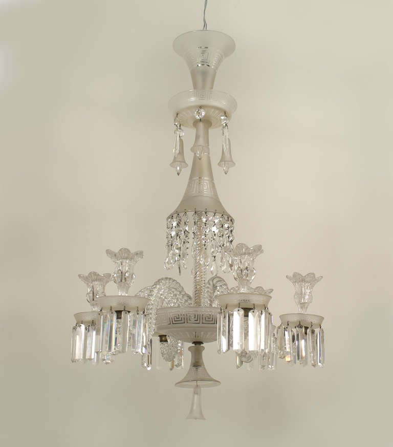 19th c baccarat 6 arm crystal drop chandelier for sale at 1stdibs nineteenth century french chandelier composed of frosted clear baccarat crystal the two tiered chandelier aloadofball Images
