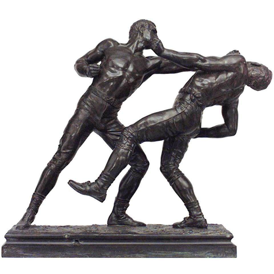 19th C. Bronze Pugilist Sculpture, By Pierre-Eugène-Emile Hébert