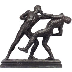 19th C. Bronze Pugilist Sculpture, By Pierre-Eugène-Emile Hébert
