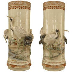 Pair of 19th c. Satsuma Vases With Painted Landscape And Wildlife Reliefs