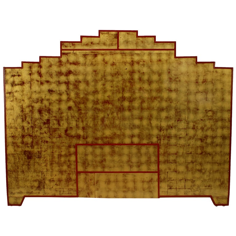King Sized Gold Leaf And Lacquer Art Deco Hamanaka Headboard For Sale