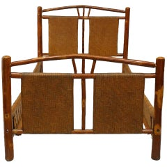 Rustic Old Hickory Woven Design Single Bed